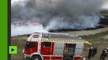 Gigantesque incendie d'une décharge de pneus près de Madrid (images aériennes)
