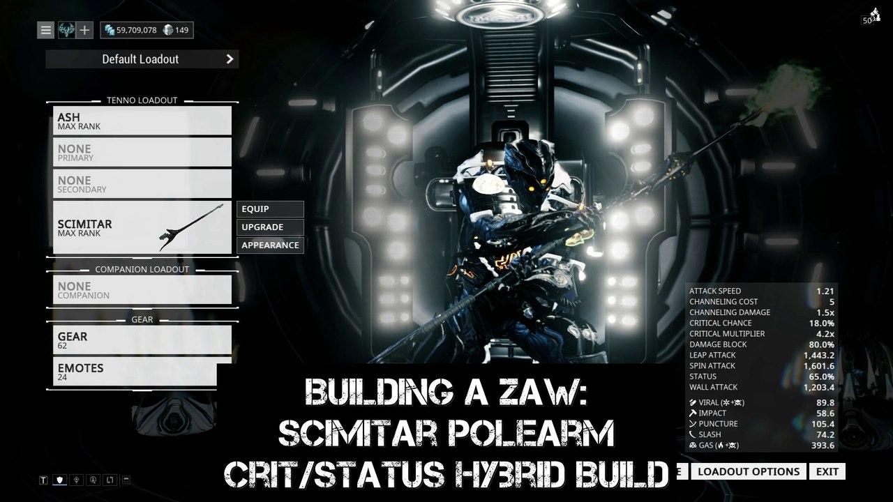 Warframe: Building a Zaw - Scimitar Polearm Crit/Status Hybrid Build