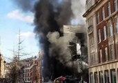 Fire Engulfs a Building on Portland Street Near the BBC in London