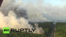 D'importants feux de forêt font rage aux alentours de la centrale nucléaire de Tchernobyl