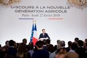 Discours du Président de la République, Emmanuel Macron, à la nouvelle génération agricole