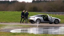 Prince William test runs Aston Martin on slid track