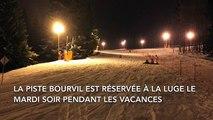 Descente en luge sur la piste Bourvil à La Bresse