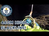 Longest slackline walk (blindfolded) - Guinness World Records