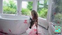 Bambi se prend la fenêtre d'une salle de bains et laisse l'endroit ensanglanté