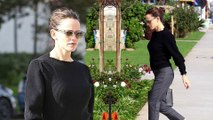 Dressed up! Jennifer Garner dons grey trousers and black sweater for church services in Los Angeles... after ex Ben Affleck flies to New York City to see Lindsay Shookus.