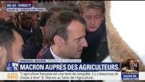 """""""Ne lâchez rien"""": Macron interpellé au Salon de l'agriculture par les mascottes FNSEA"""