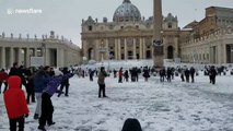 Seminarians take part in snowball fight in Vatican's St Peter's Square