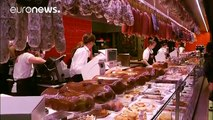 "Thousands flock to Lyon's historic food hall ""Les Halles"" to honour chef Paul Bocuse"