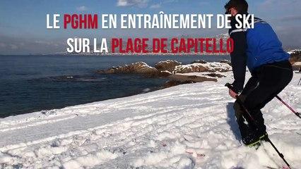 Le PGHM en entraînement ski sur la plage de Capitello