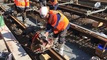 Première soudure de rails du futur tram