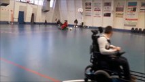 Un entraînement en foot-fauteuil à Saint-Just-Saint-Rambert