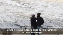 Grand froid en France: la dune du Pilat recouverte de neige