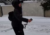 Street Skiing in Montpellier as Snow Continues