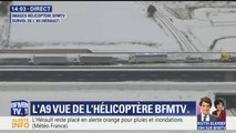 Les images des camions bloqués par la neige sur l'A9 depuis l'hélicoptère BFMTV