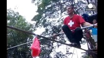 Tightrope no harness! Walkers brave hights of 30m, with mixed results