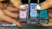 Pastel Blue polka dot acrylic Nails - Nail Polish