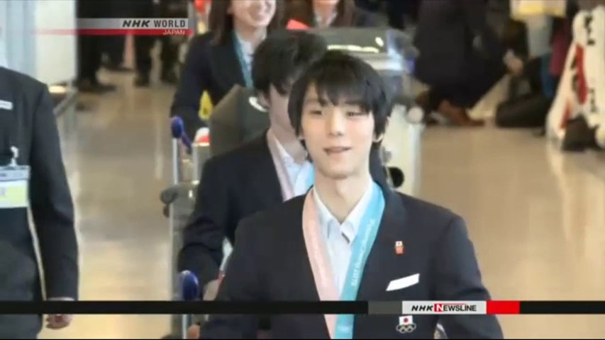 NHK Newsline 2018.02.26 - Japanese athletes come home with record medal haul (NHK WORLD TV)