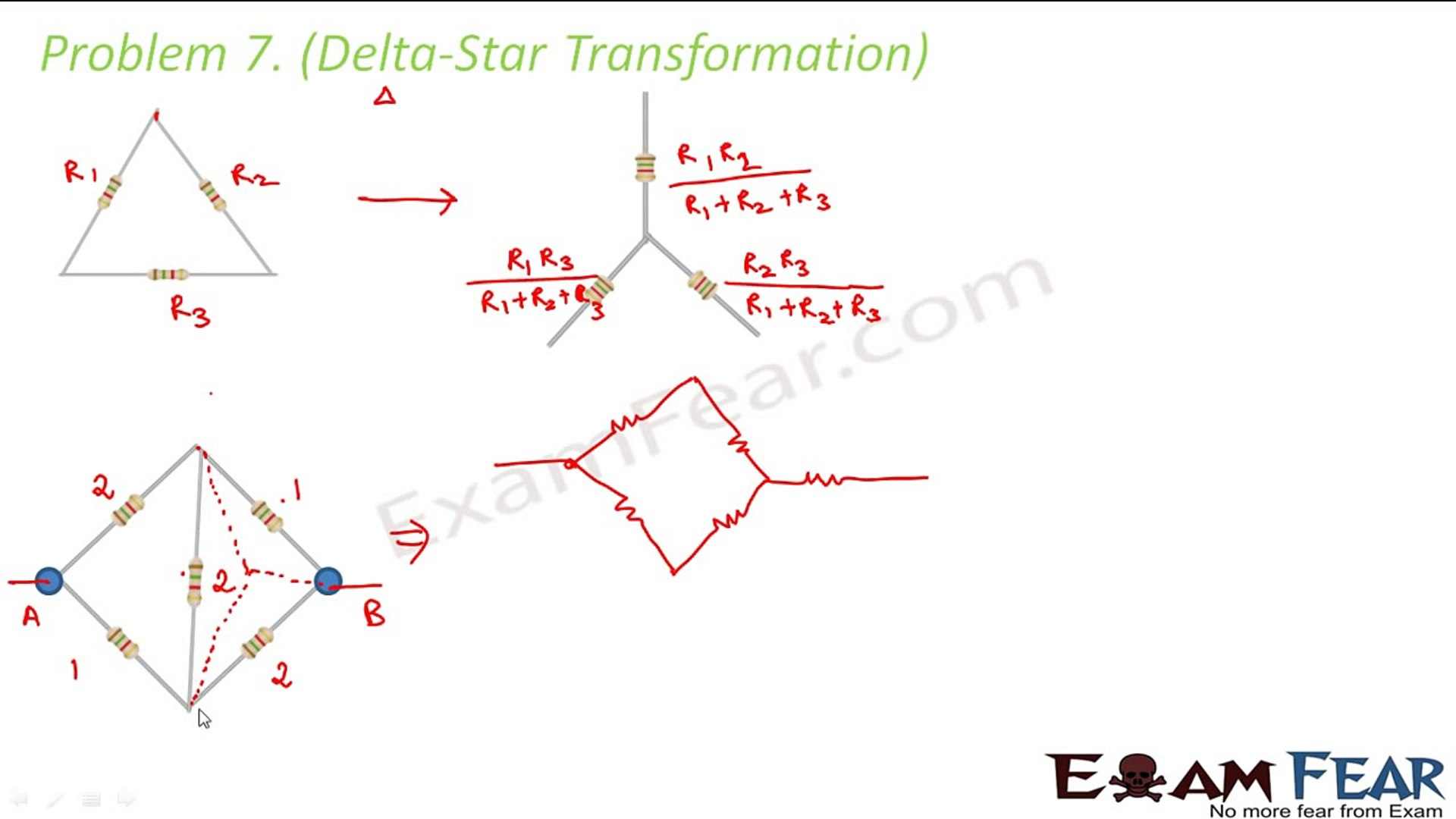 Physics Current Electricity part 26 (Examples, Numericals : Delta Star  transformation) CBSE class 12