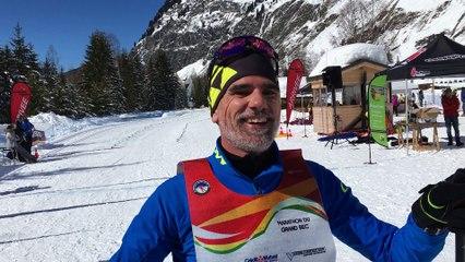 David Wouters,  ancien fondeur se livre à l'arrivée du Marathon du Grand Bec