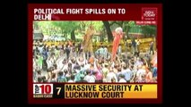 Delhi BJP Youth Wing Protests At Congress Headquarters Against Cow Slaughter