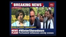 Opposition Leaders Stage Protest At Gandhi Statue In Parliament