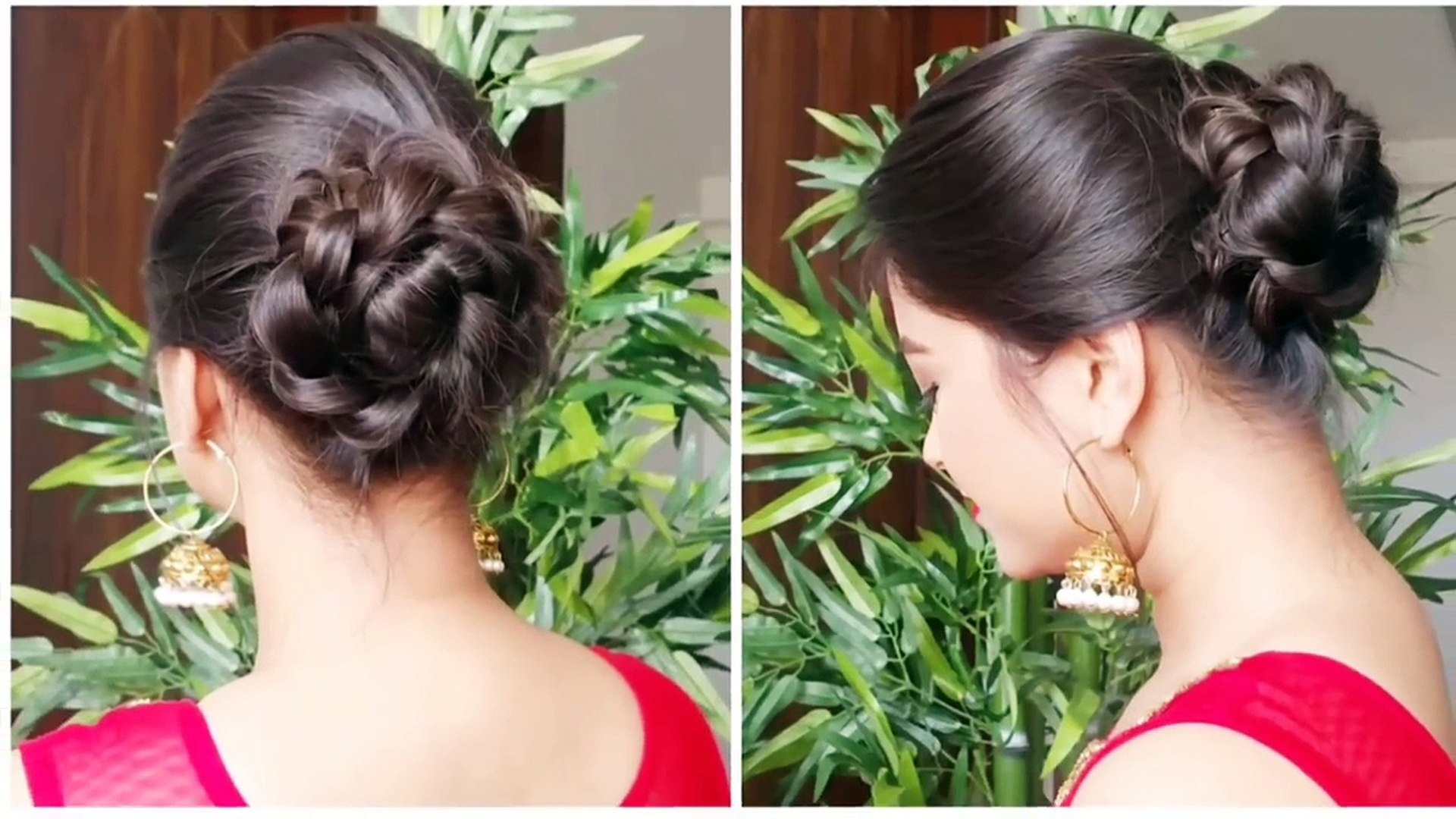 2 Quick Easy Indian Bun Hairstyles For Saree Anarkali Lehnga Party Hairstyles For Medium Long Hair
