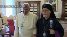 Pope meets with Armenian bishops, days before Mass for Armenian genocide