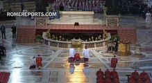 Pope Francis prays face down, on the floor of St. Peter\'s Basilica