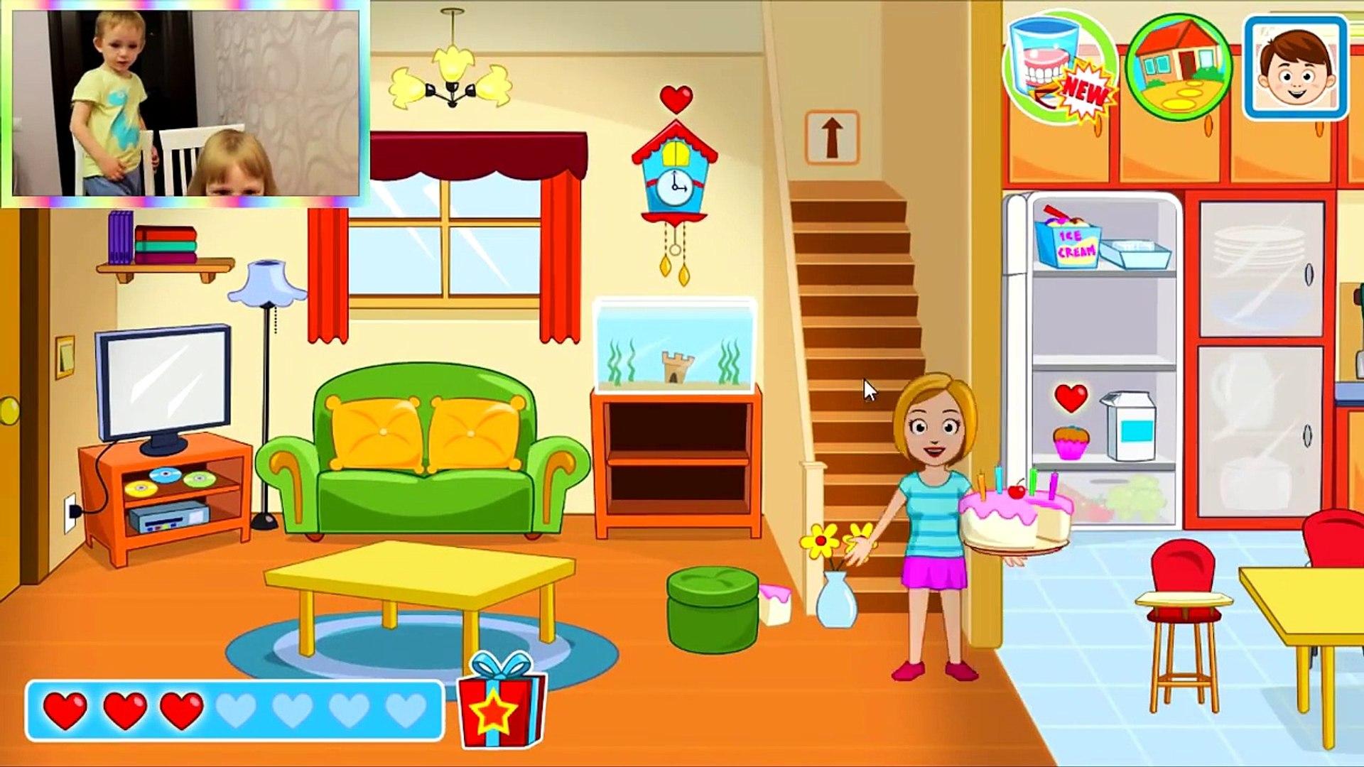 ВИДЕО ДЛЯ ДЕТЕЙ Семейная игра как мультик про Семью My Town Home развлекательная игра Смешное
