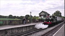 Steam Engine Letting off Steam and Departing the Heritage Railway Train Station