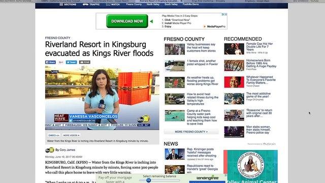 Evacuations near Kings River CA - Rises 25ft in 12 hrs - Rapid Sierra Snowmelt