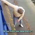 Ce jeune a fait tomber sa CB au bord d'une rivière et il va le regretter !