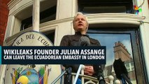 WIKILEAKS FOUNDER JULIAN ASSANGE CAN LEAVE THE ECUADOREAN EMBASSY IN LONDON
