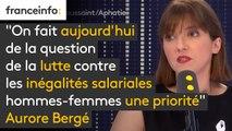 """Les entreprises de + 50 salariés sanctionnées si """"écarts [de salaires] injustifiés"""" : """"C'est pas la même chose quand vous avez une petite entreprise avec des métiers différents et une entreprise de 50 personnes avec des métiers comparables"""" Aurore Bergé"""