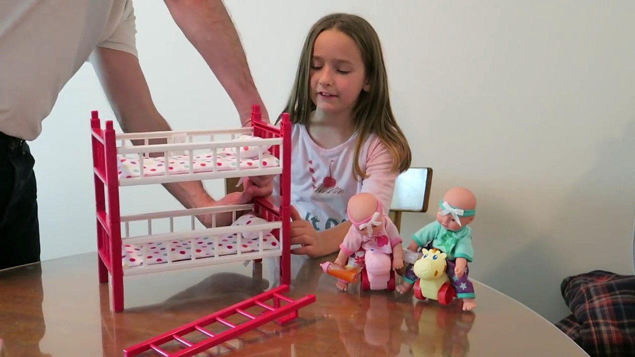 Kids Toy Review Twin Baby Dolls With Bunk Beds Mini Twins Deluxe Room Set Video Dailymotion