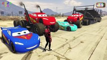 Disney Pixar Cars 2 Lightning McQueen Monster Truck Color Lightning McQueen Spiderman and Tow Mater