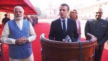 Déclaration du Président de la République, Emmanuel Macron lors de la cérémonie d'accueil Rashtrapati Bhavan à New Delhi, Inde