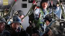 PLA Air Force conducts parachute training exercise