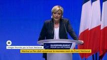 """Congrès du Front national : """"Les civilisations sont mortelles. Dans un régime démocratique, ce qui est encore si peu le cas en France, le sort de notre pays est entre les mains de son peuple"""", estime Marine Le Pen."""