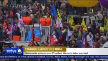 Nationwide protests over French President Macron's labor overhaul