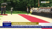 German president hosts welcome ceremony for Chinese President Xi Jinping