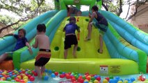 Little Tikes Giant Inflatable Water Slide + Golden Giant Surprise Egg Hunt Paw Patrol Ball pit