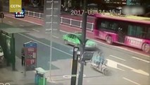 Watch: giant sinkhole nearly swallows bus in S China