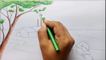 How to draw village scenery / Landscape step by step