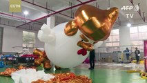 Chinese factory hatches giant Trump chickens to celebrate Year of the Rooster