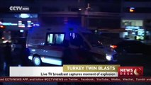 Live TV broadcast captures moment of Turkey twin explosions