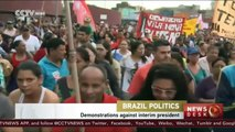 Brazilians demonstrate against Interim President Temer in Sao Paulo
