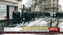 French labor reforms: student protesters clash with police in demonstration