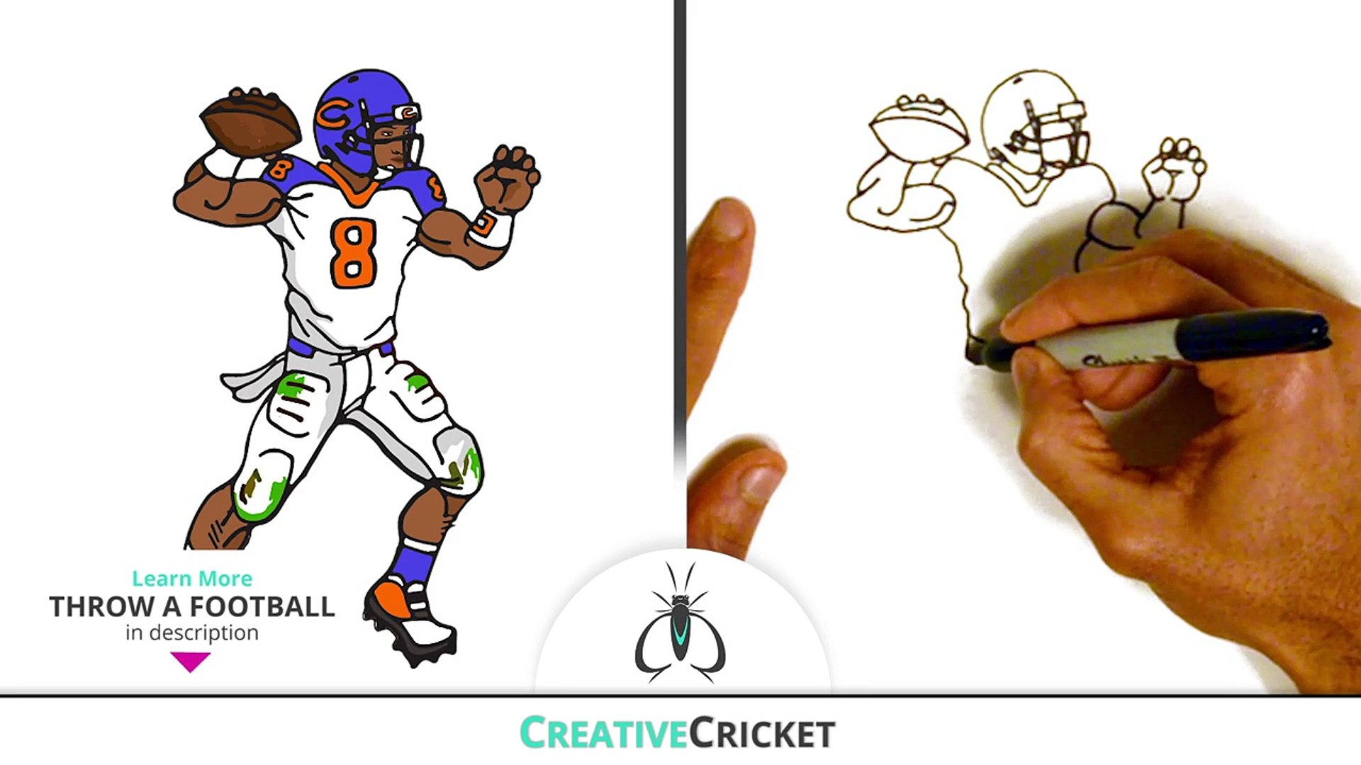 How To Draw A Football Player Quarterback Easy Step By Step Art